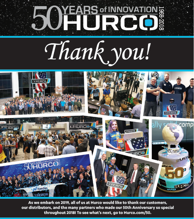 Hurco Thank You Ad 50th Anniv