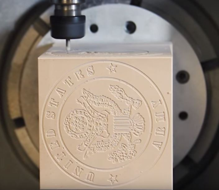 block with us army seal using Hurco control features